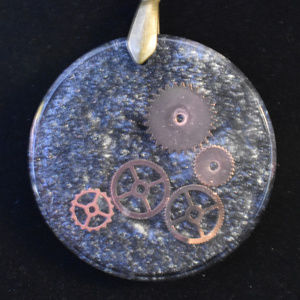 Round Pendent, Necklace with Copper Cogwheels